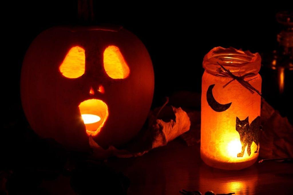 halloween lantern, pumpkin, and lights